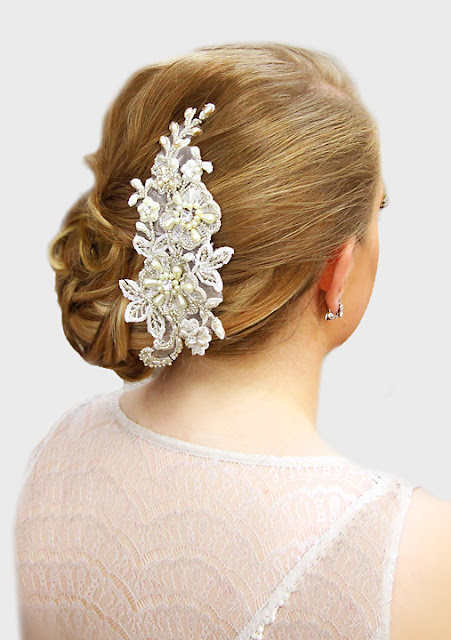 "Floral Lace and Beaded bridal hair comb- ""Elise Headpiece"""