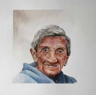 retrato en acuarela de una anciana
