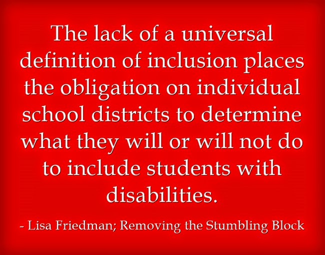 Lack of universal definition of inclusion; Removing the Stumbling Block