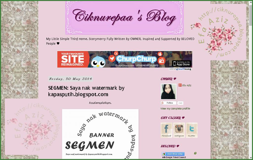 Lucky blogger no 19 - Segmen: Saya nak watermark by kapas-putih.blogspot.com