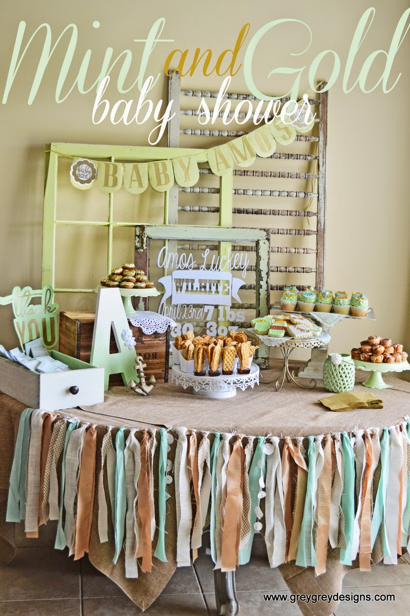Greygrey designs my parties mint and gold vintage sip for Vintage theme ideas