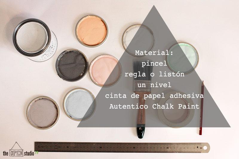 Materiales para pintar triángulos en la pared