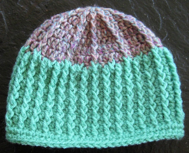 With Hook In Hand Pattern Sunny Ribbed Hat