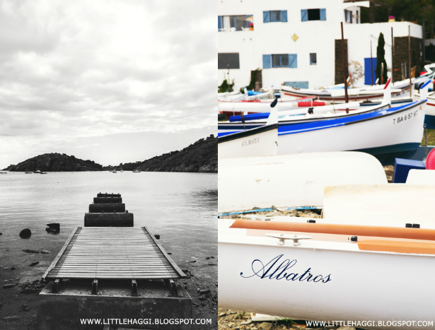 pasarela y barcas pesqueras Portlligat