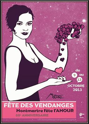fete des vendanges Paris Montmartre thème amour 2013 Miss-tic affiche