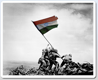 Indian Flag held by many soldiers