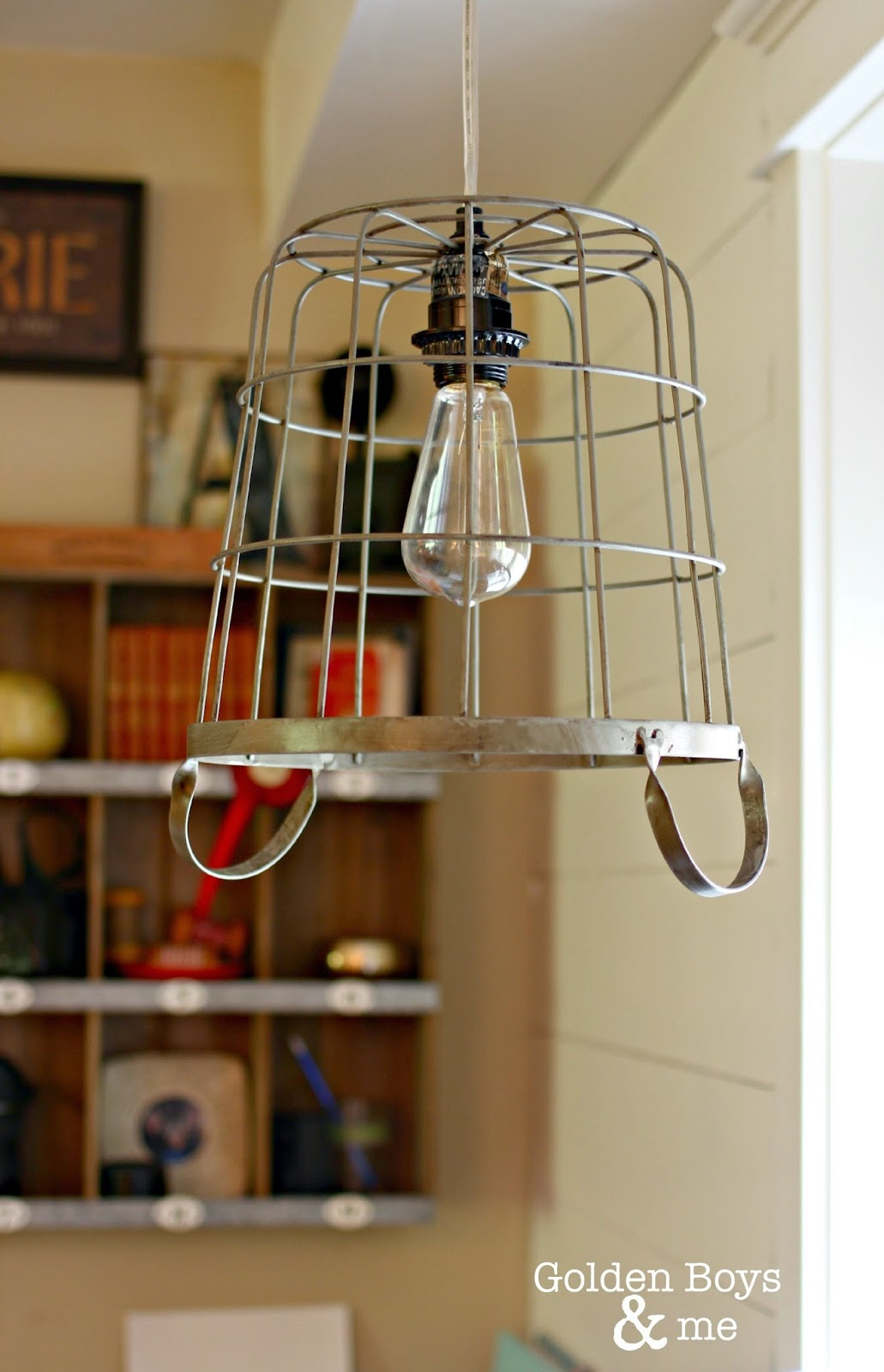 Wire basket pendant light with old fashioned light bulb-www.goldenboysandme.com