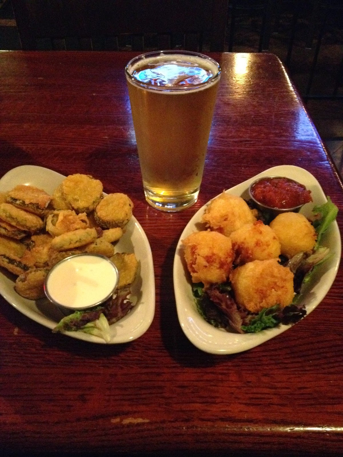 (L) Fried pickle chips with garlic-dijon aioli dipping sauce  (C) Strongbow English Dry Cider  (R) Deep fried Mac & Cheese bites with marinara