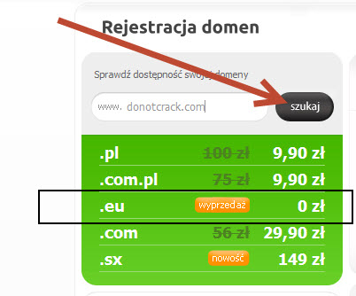 Free 1 year .EU domain at domena