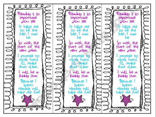 Library Freebies: New Year Printable Bookmarks