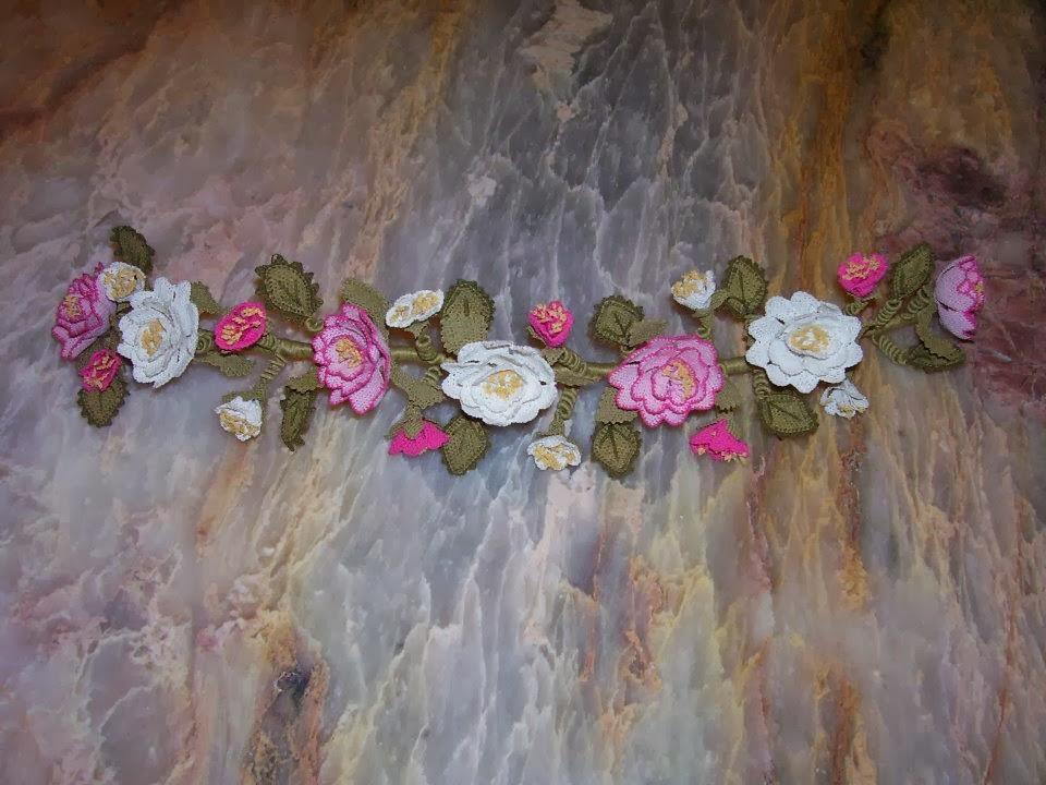 gelin çiçeği,iğne oyalı gelin tacı