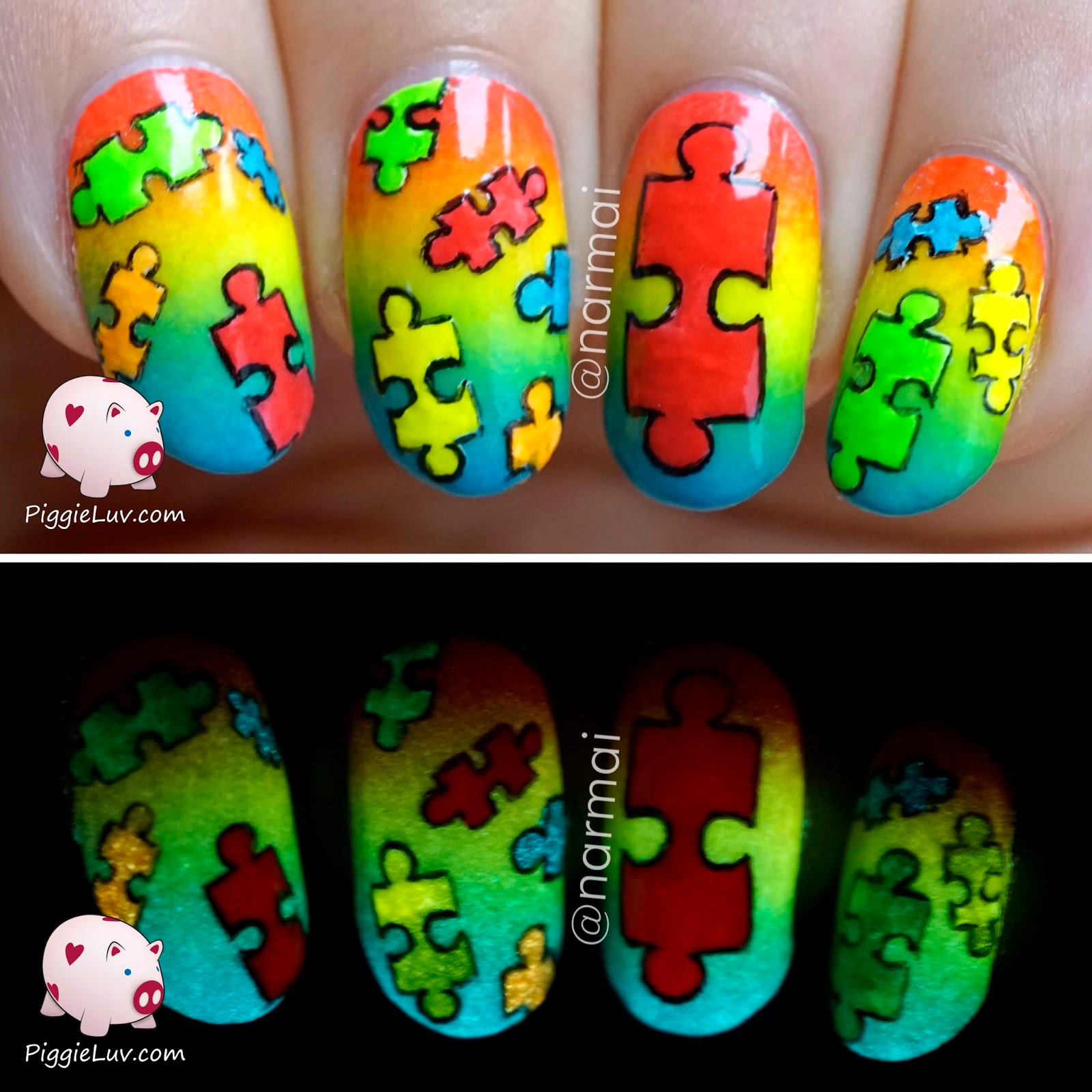 Piggieluv autism awareness nail art autism awareness nail art prinsesfo Images