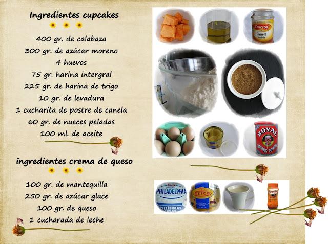 imagen de ingredientes de cupcakes de calabaza