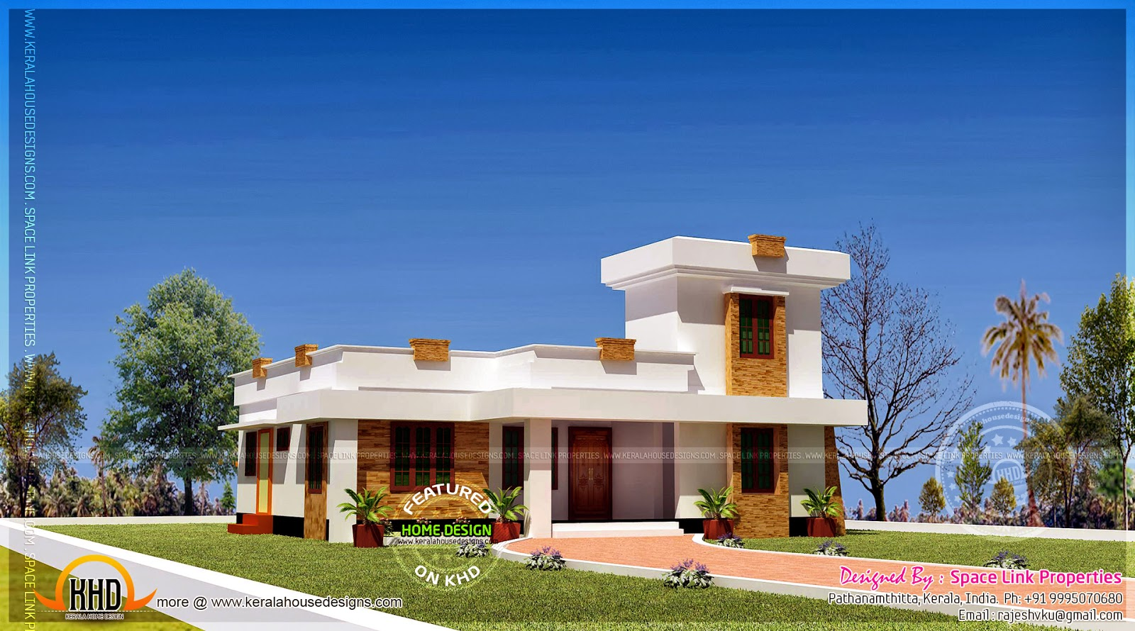 Flat roof style single storied house kerala home design Small flat roof house