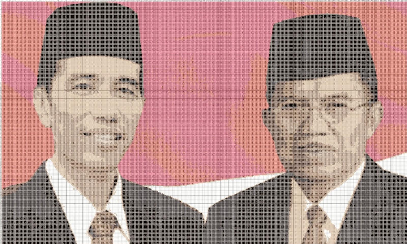 Gambar Pola Kristik Presiden RI Joko Widodo & Wapres RI Jusuf Kalla