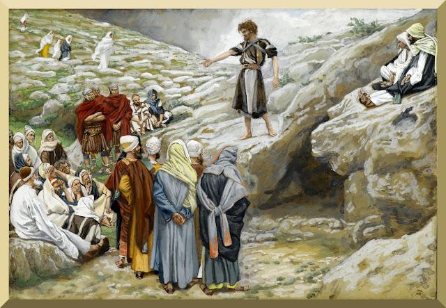 """Saint John the Baptist and the Pharisees "" -- by James Tissot"
