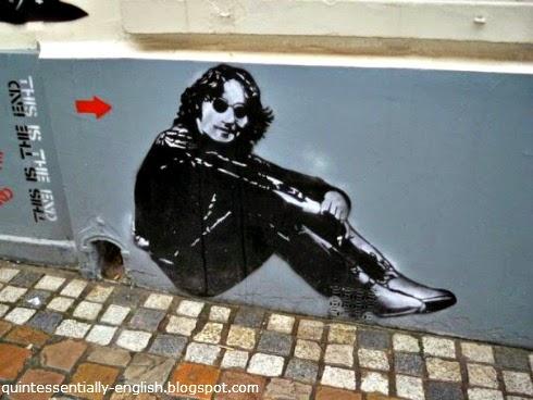 John Lennon street art in Brussels, Belgium