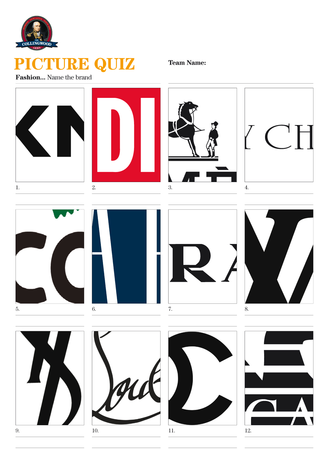 with cropped logos of the top fashion brands for our Picture Quiz