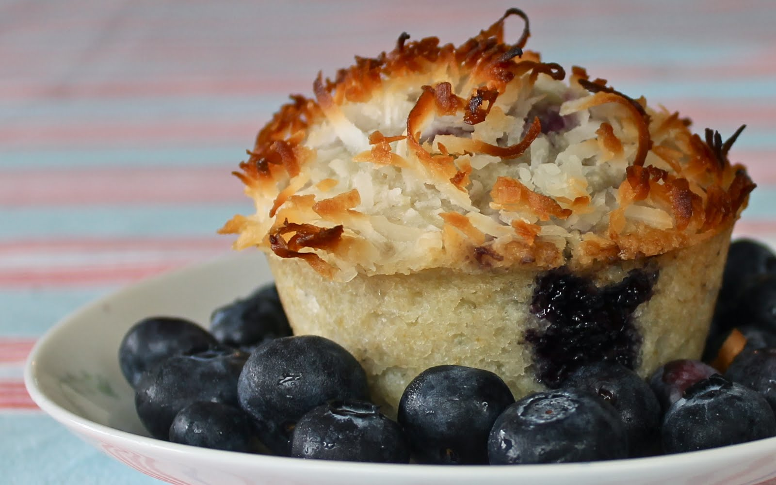 Yammie's Noshery: Coconut Topped Blueberry Muffins