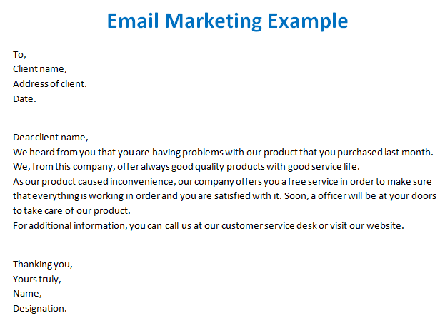 how to write a email marketing message