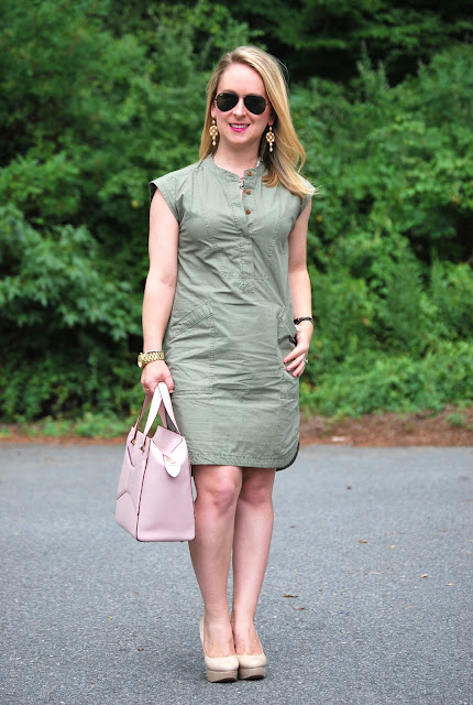 how to style an olive green dress, olive and pink, jcrew soft henley dress