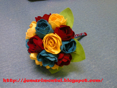 colorful artificial hand bouquet