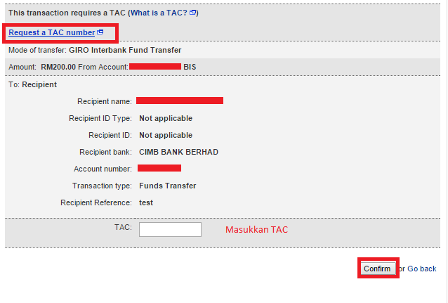 Request TAC maybank2u