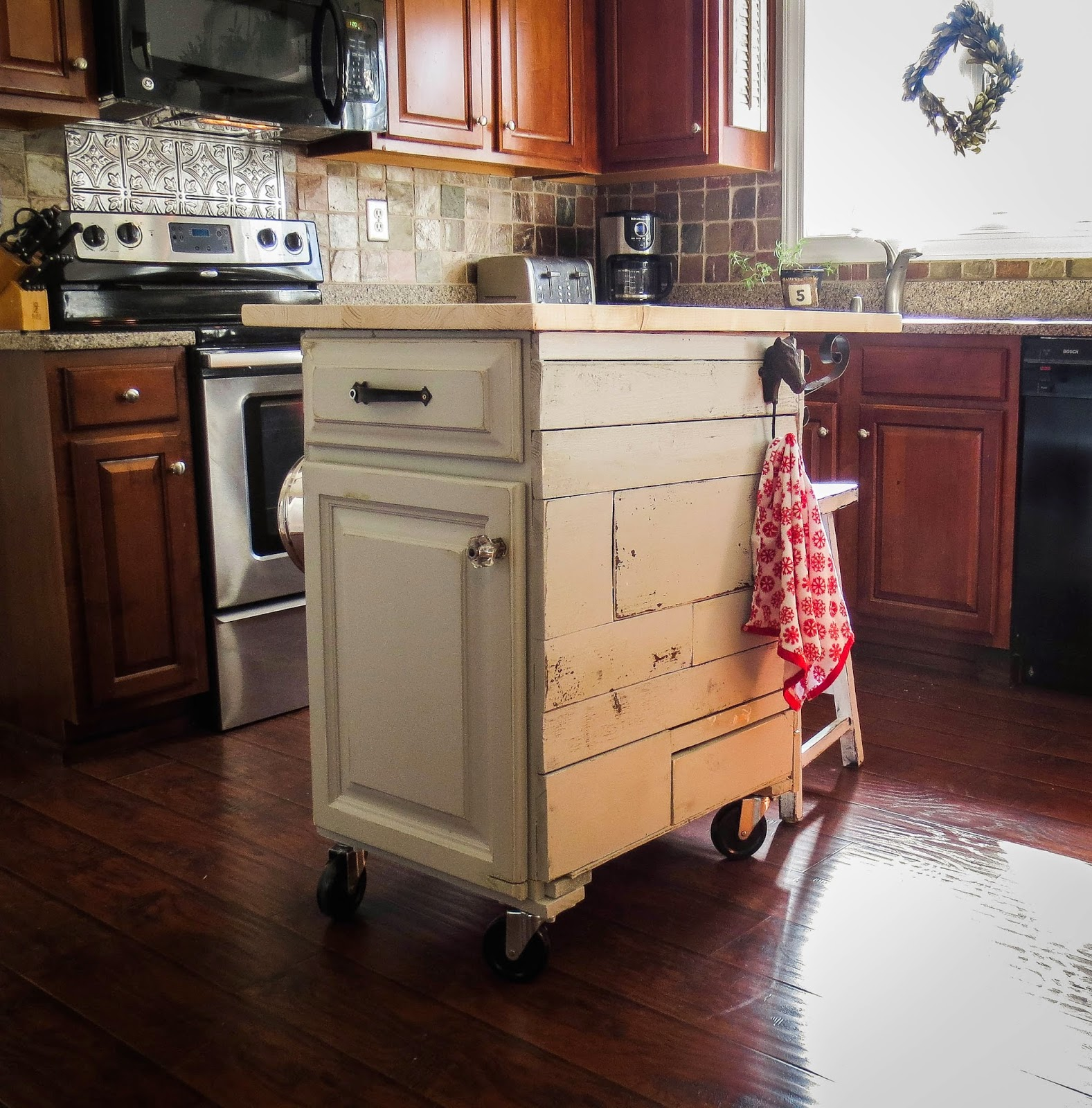 Mobile Island For Kitchen: Down To Earth Style: Re-purposed Cabinet To Mobile Kitchen