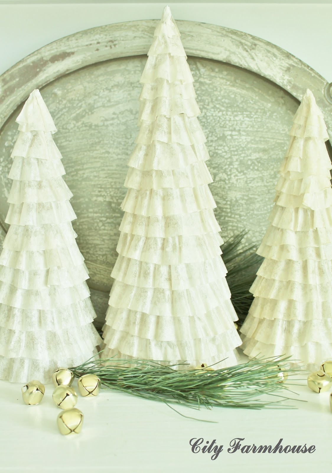 Recycled Christmas Projects 20 & 20  Coffee Fliter Trees and Rustic ...
