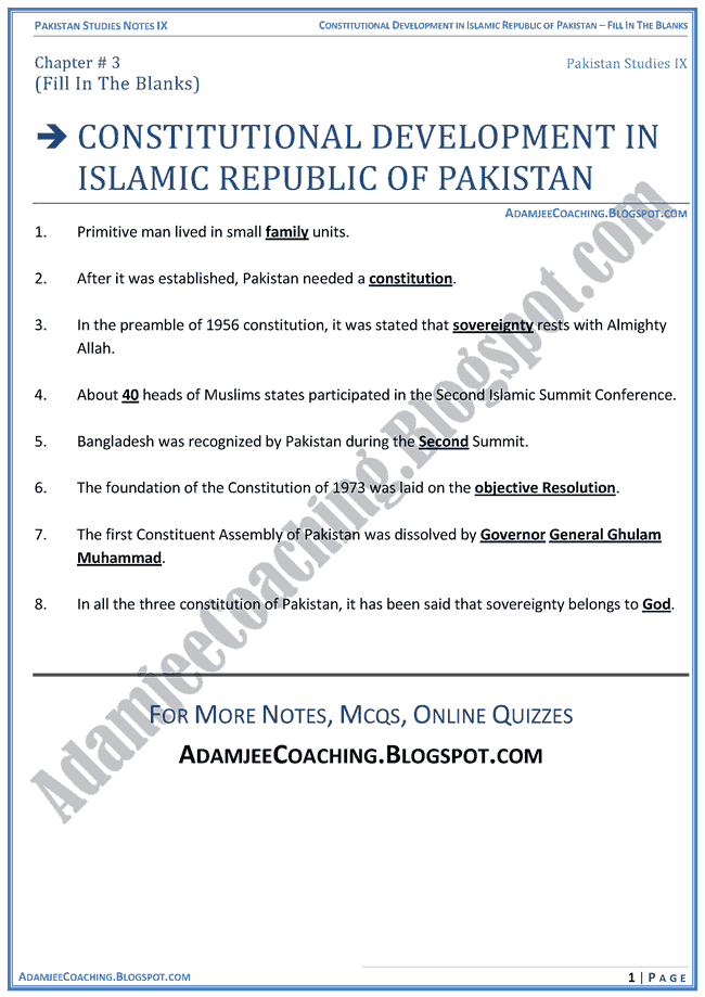 constitutional-development-in-islamic-republic-of-pakistan-fill-in-the-blanks-pakistan-studies-ix