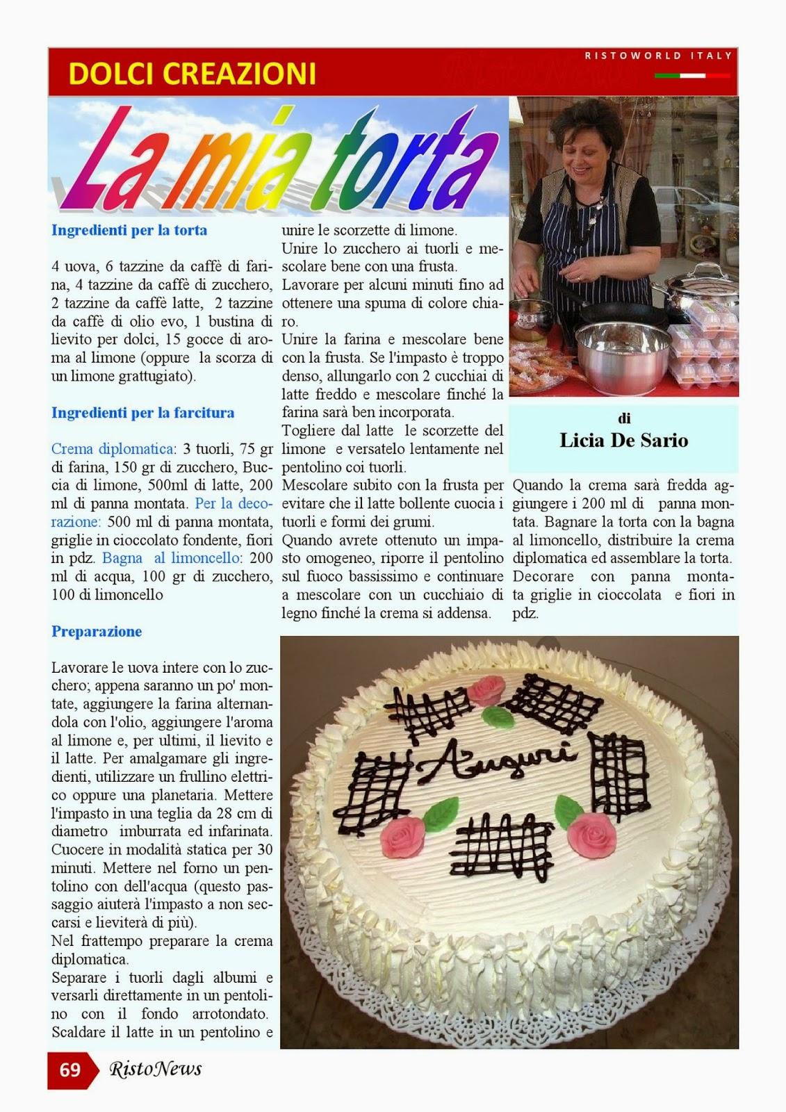 la mia torta pubblicata sulla rivista