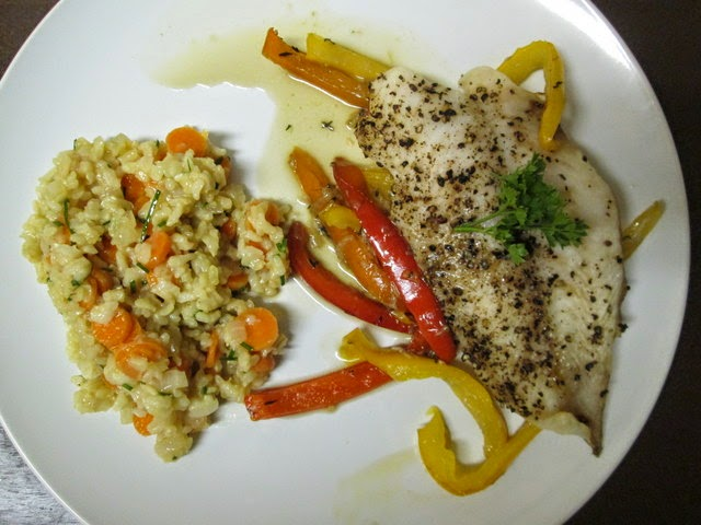 Broiled Cracked Pepper Fish with Ginger Rice