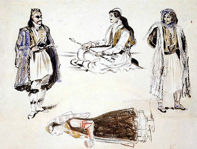 Study of Three Albanian Arnavuts and a Woman in Albanian Costume