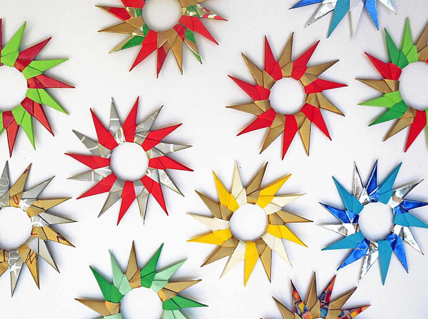 Mas origami estrella modular 16 puntas - Origami de una estrella ...