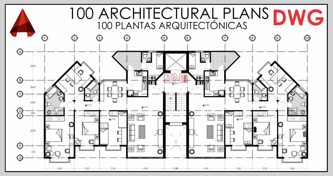 Zent design 2d 100 architectural plants 100 plantas for Planta arquitectonica pdf