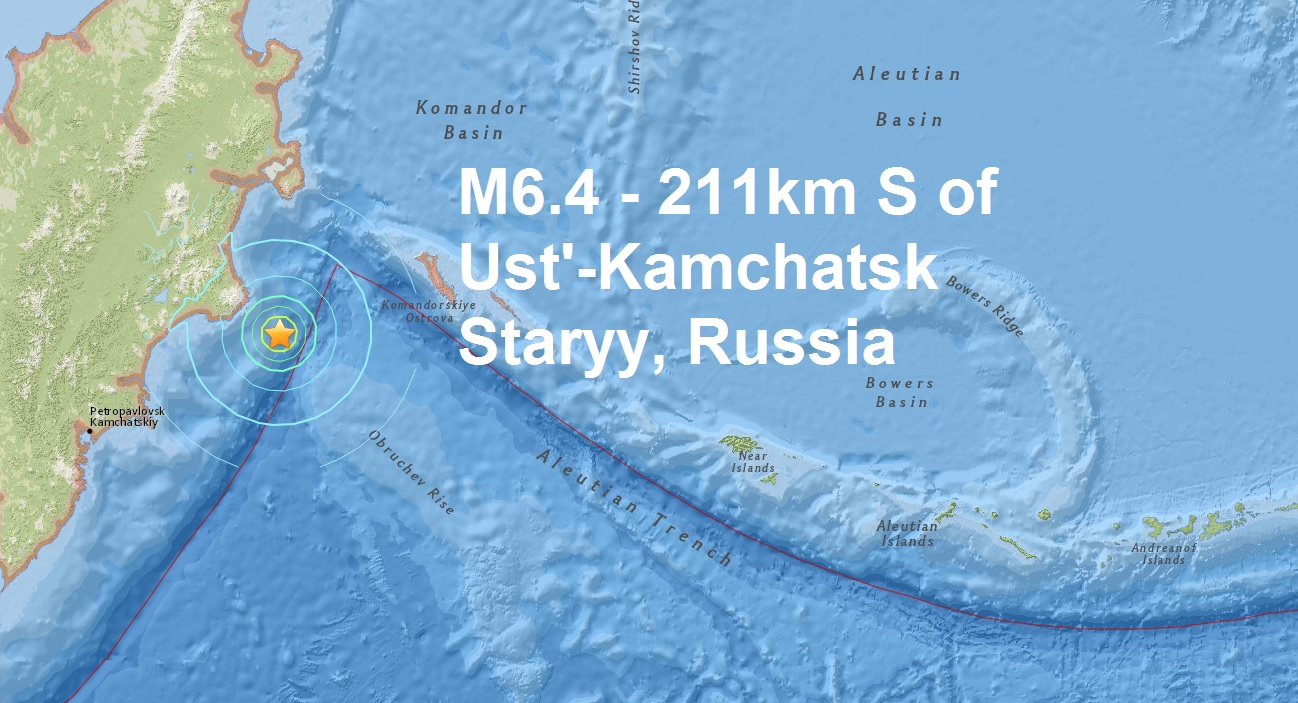 A mg 6.4 - 211km S of Ust'-Kamchatsk Staryy, Russia is the 5th major quake of March