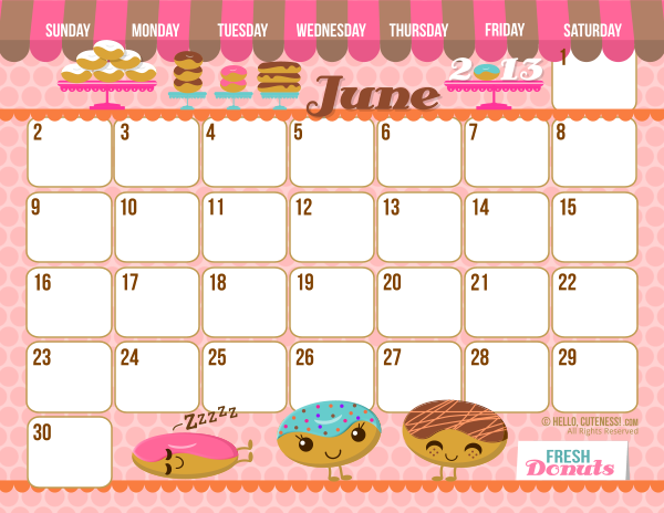 Calendar June 2013 : Butterfly kisses of love free cute june printable