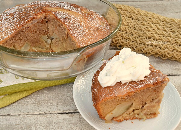 Double duty recipe ! Bake in a deep dish for dessert or in a shallow dish for breakfast/brunch - This Cinnamon Pear Pancake Cake is delicious, served warm with whipped cream, syrup or ice-cream