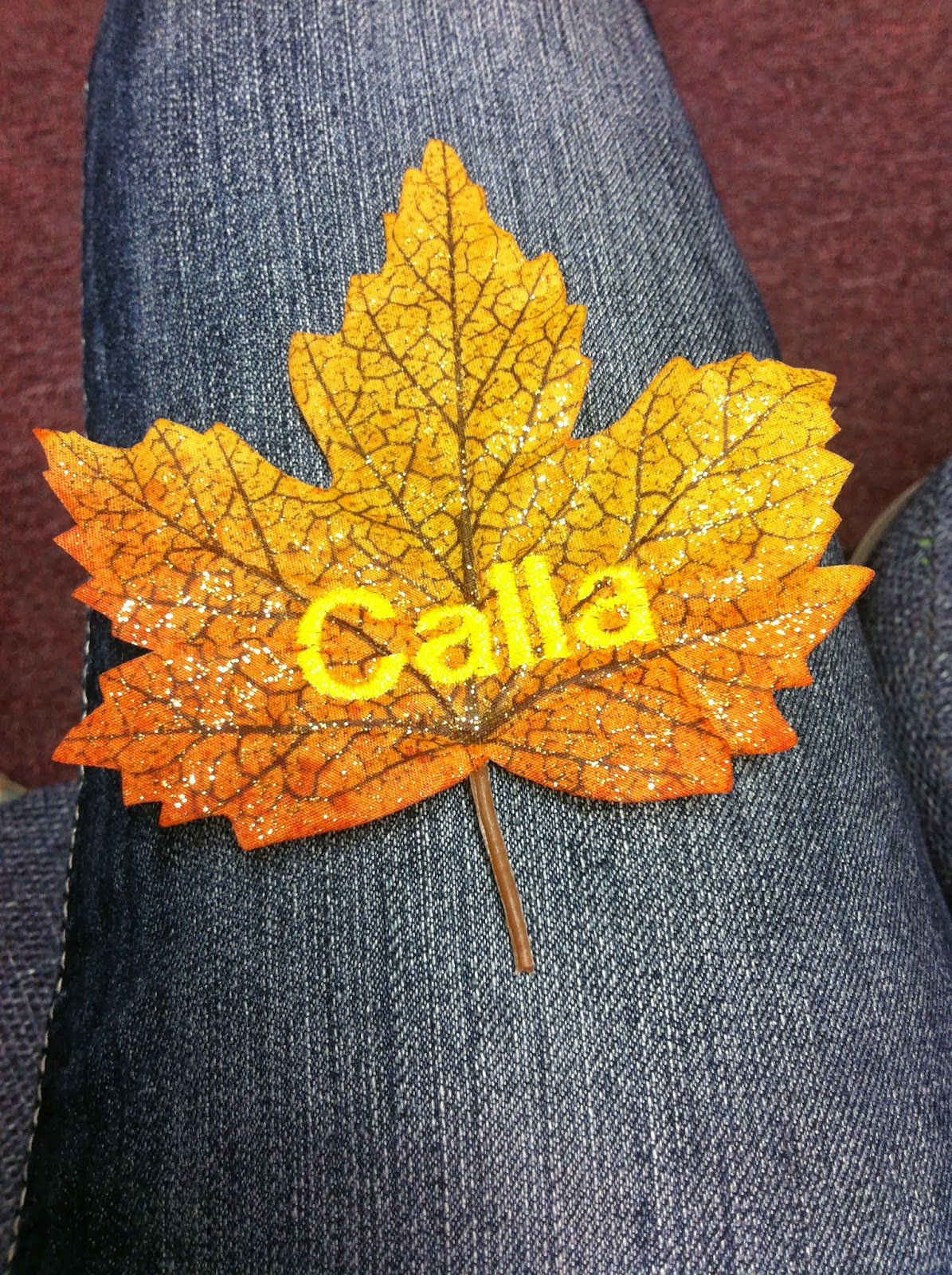 Calico cali designs embroidery on leaves
