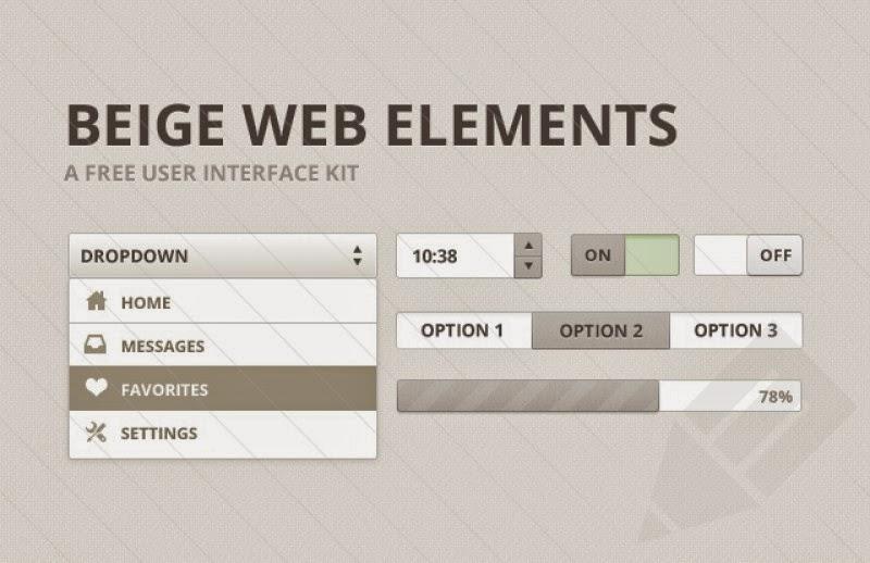 Beige Web Elements UI Kit PSD