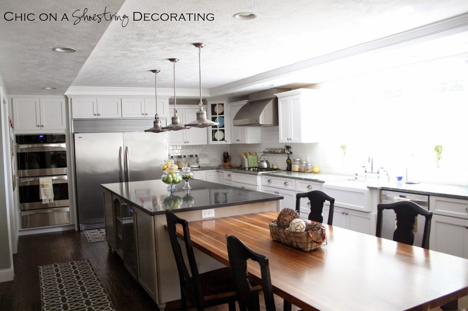 Chic on a shoestring decorating client kitchen remodel reveal - Islands dining room ...
