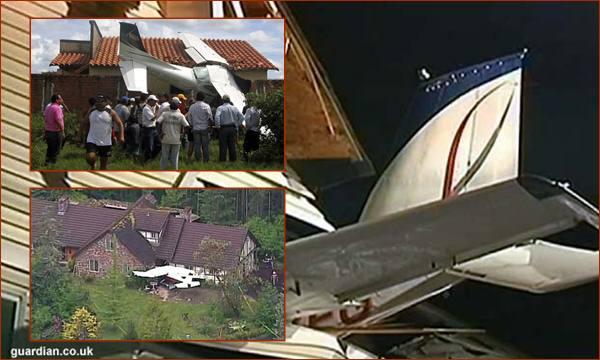 pesawat kecil jatuh timpa rumah