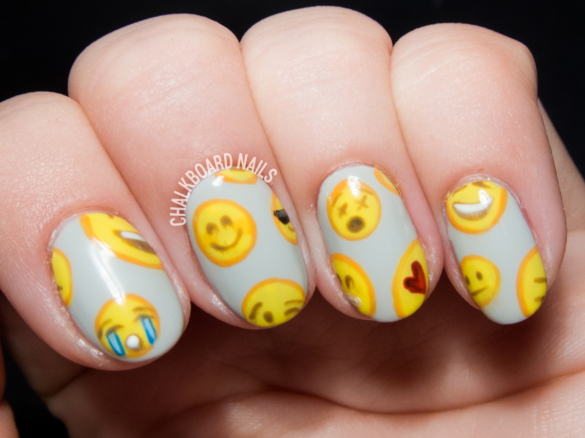 Emoji Pattern Nail Art | Chalkboard Nails | Nail Art Blog
