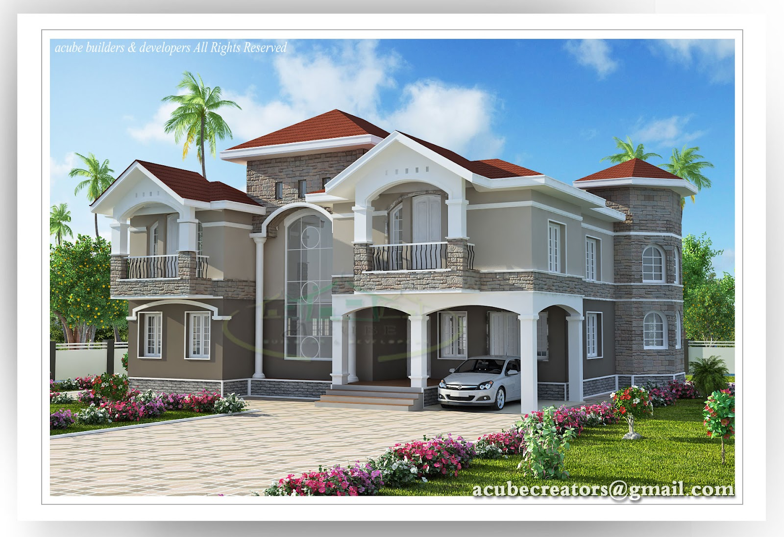 4 bedroom double floor indian luxury home design 3447 sqft plan 143 house details - Indian House Designs Double Floor