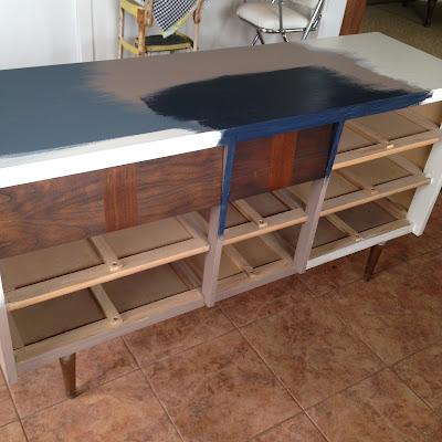 Mid Century Dresser - Navy & Jacobean