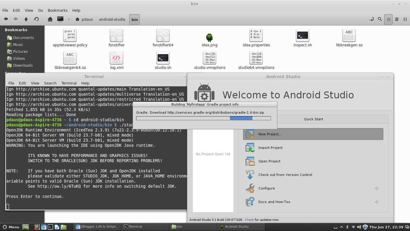 install android studio in linux mint 14 is simple la