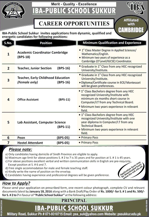 Teacher & Admin Jobs in IBA Public School Sukkur