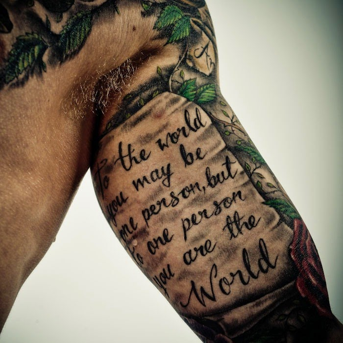 Cool arm quote tattoos bicep tattoo ideas for men and girls for Unique arm tattoos