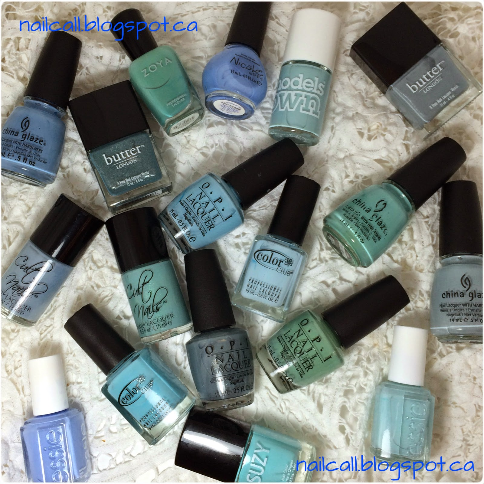 Blue nail polish bottle collage