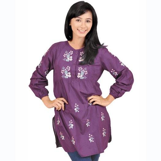 baju wanita ungu bahan katun halus